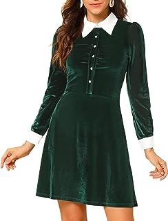 Allegra K Women's Contrast Point Collar Half Placket A-Line Mini Velvet Shirt Dress