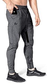 BROKIG Mens Thigh Mesh Gym Jogger Pants, Men's Casual Slim Fit Workout Bodybuilding Sweatpants with Zipper Pocket