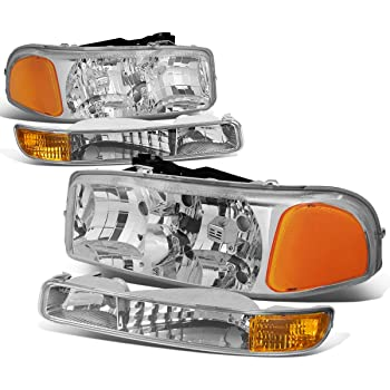4Pcs Chrome Housing Amber Corner Headlights+Bumper Light Lamp Replacement for GMC Sierra Yukon GMT800 99-07