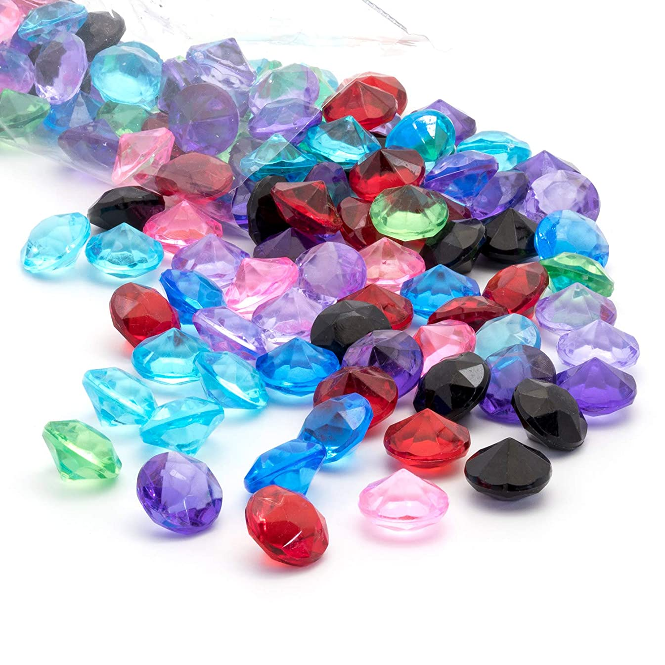 Acrylic Diamonds Gems Crystal Rocks for Vase Fillers, Party Table Scatter, Wedding, Photography, Party Decoration, Crafts by Royal Imports, 1 LB (Approx 140-160 gems) - Mixed Colors