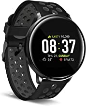iTouch Sport Round Smartwatch with Waterproof Technology, Heart Rate Monitor, Multi-Sports Mode, Pedometer, for Android and iOS Smart Phones - Perforated Silicone Strap (Black/Gray)
