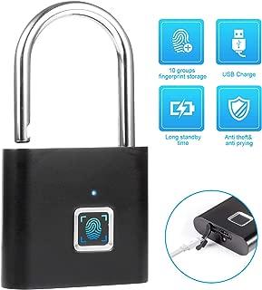 Fingerprint Lock TOWODE Smart Fingerprint Padlock, 360° Fingerprint Recognize Security Door Padlocks, Micro USB Rechargeable IP62 Portable Anti-Theft Fingerprint Lock for Bag, Drawer, Suitcase, Black