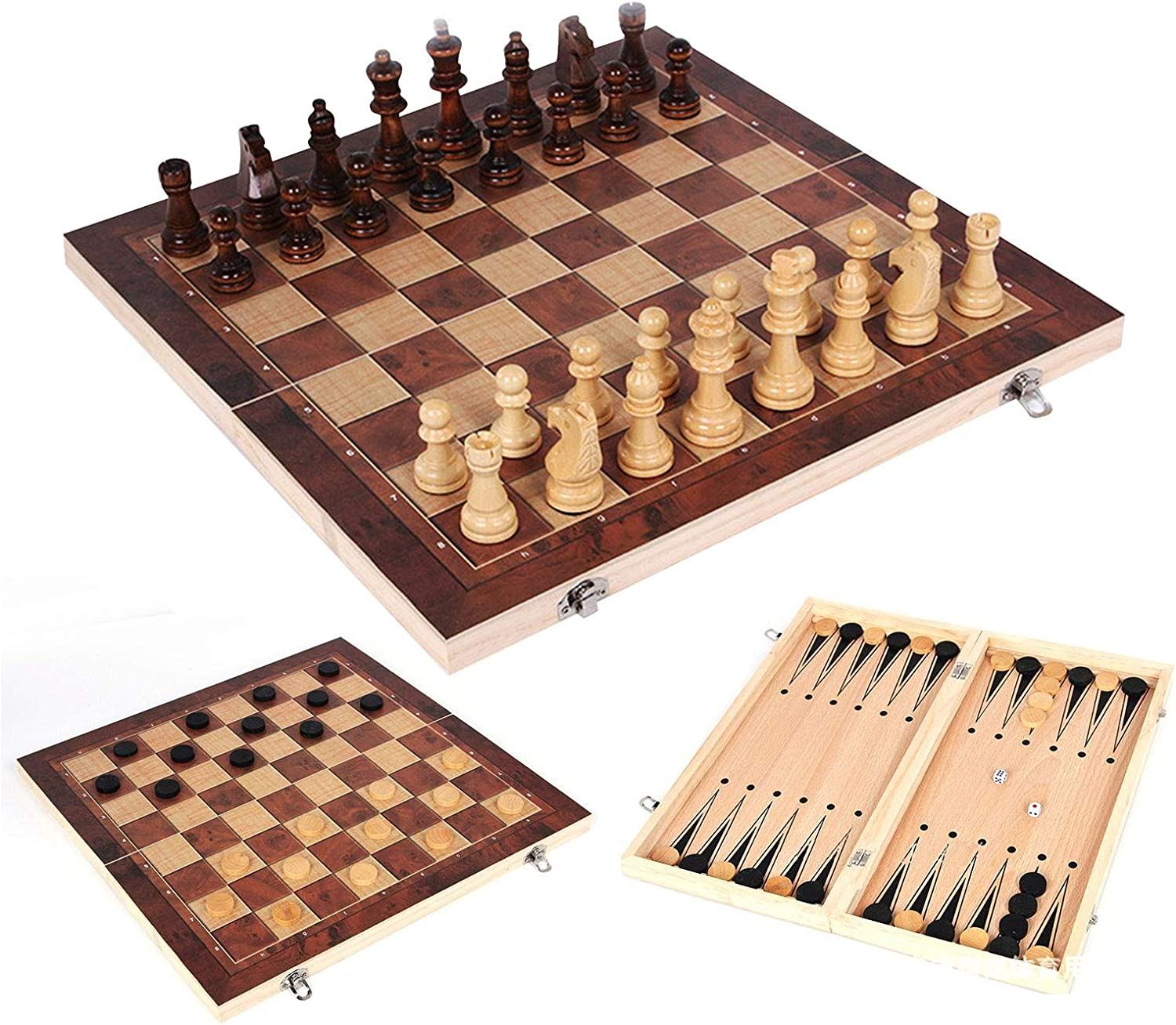 Wooden Chess Set Folding 3 in Backgammo Today's only Checkers 1 Direct stock discount