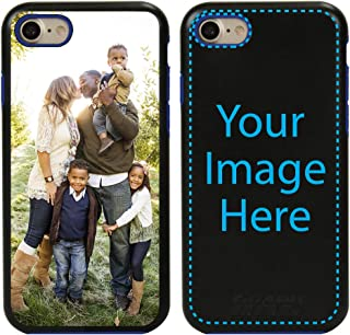 Custom iPhone 7/8 Cases by Guard Dog - Personalized - Make Your Own Rugged Hybrid Phone Case. Includes Guard Glass Screen Protector. (Black, Blue)
