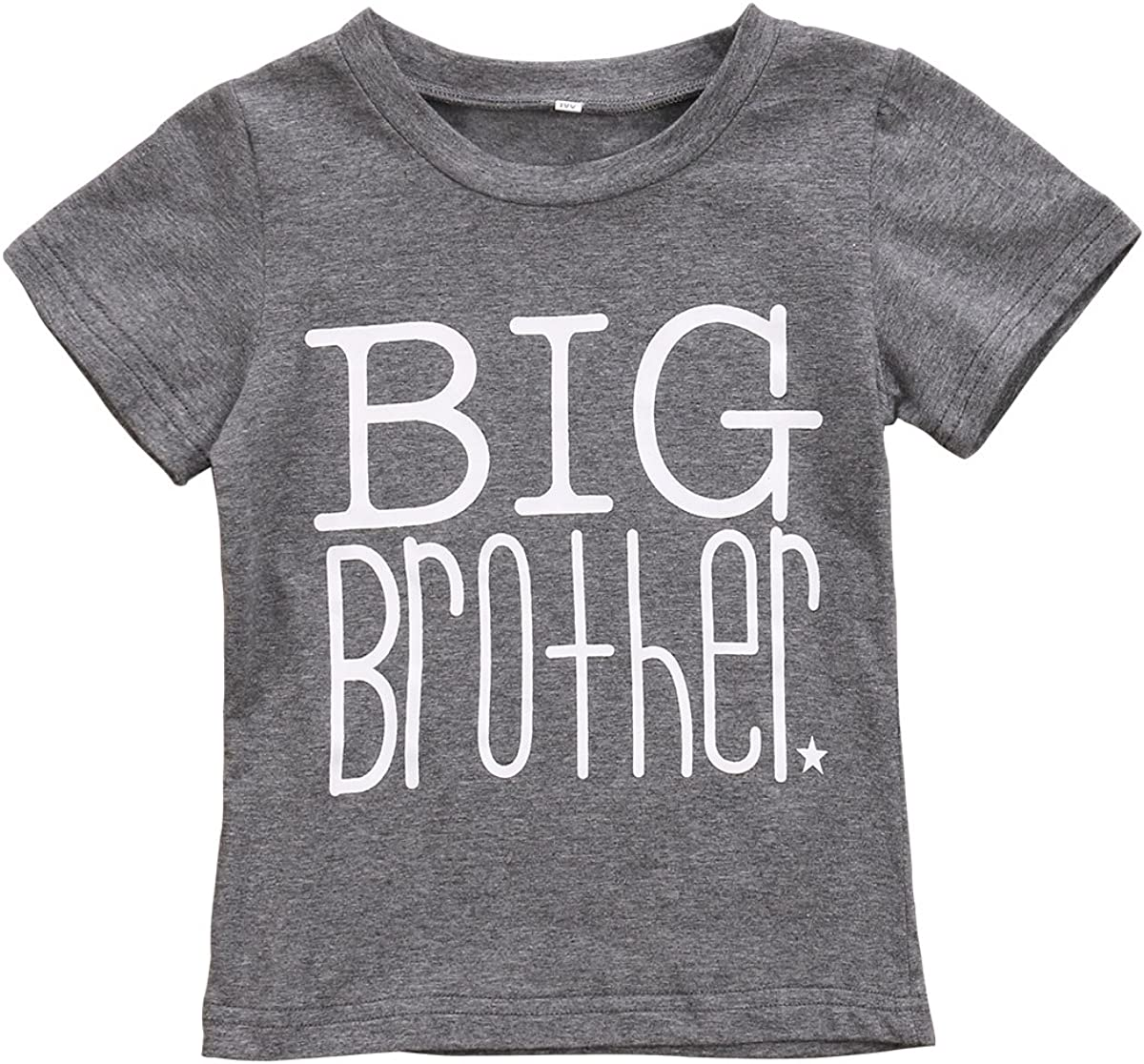Toddler Baby Boys Cartoon Big Brother Print Summer Tops T Shirts for 1-6 Years Old