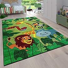 Kinderkamer kindertapijt voor jongens met dieren en jungle motieven laagpolig, Maat:80x150 cm, Farbe:Groen