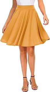 Sponsored Ad - EXCHIC Women's Basic Skirt A-Line Midi Dress Casual Stretchy Mini Skater Skirt