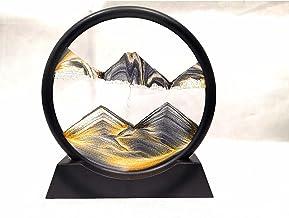 MENGFEI Creatief drijfzand schilderen, mobiele zandloper kunst 3D ronde glazen zandframe zand schilderen, 360° draaibaar, ...
