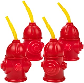 Straw Fire Hydrant Cups with Lids - (Pack of 4) Bonus Squirt Fire Extinguisher, Reusable 12 oz, Red Plastic Fire Truck Par...