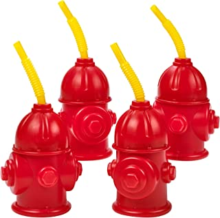 Straw Fire Hydrant Cups with Lids - (Pack of 4) Reusable 12 oz, Red Plastic Fire Truck Party Supplies Cups and Firefighter Birthday Party Favors for Kids by Bedwina