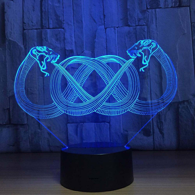 Laofan Doppel Schlange Form 3D led USB Lampe 7 Farben ndern Blitz atmosphre nachtlicht USB Touch Schalter tischlampe Decor,Fernbedienung