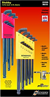 Bondhus 20599 0.050-3/8-Inch and 1.5-10mm Stubby Ball End Hex Key Double Pack