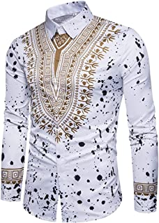 Mens Dashiki Button Down Slim Fit African Ethnic Printed Long Sleeve Dress Shirt