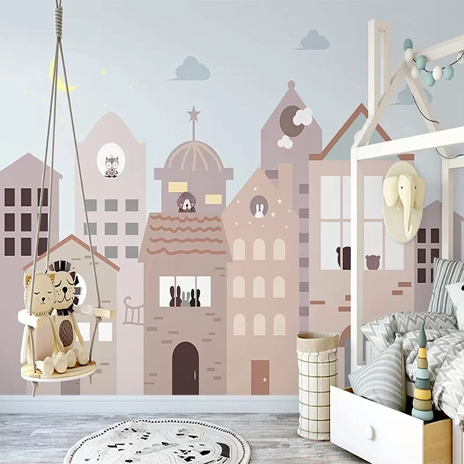 Photo Wallpaper 3D Hand-Painted Cartoon boy Be Department store Girl Animal House Safety and trust