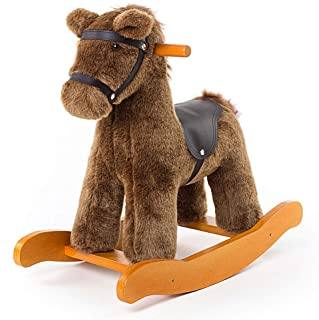 labebe Child Rocking Horse Toy, Stuffed Animal Rocker Toy, Brown Knight Horse Rocking Plush for Kid 1-3 Years, Wooden Rocking Horse Set/Outdoor Rocking Toy/Small Rocking Horse