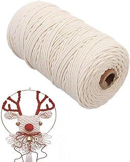 O-Kinee Makramee Garn 3mm x 200 m, Baumwollgarn Weiß,Baumwollkordel Kordel-Strickarbeiten Kettgarn Baumwollschnur für DIY Handwerk Basteln Wand Aufhängung Pflanze Aufhänger