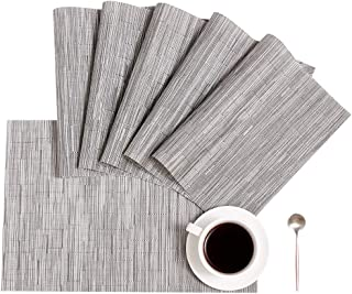 DOLOPL Placemats Gray Placemat Set of 6 Crossweave Woven...