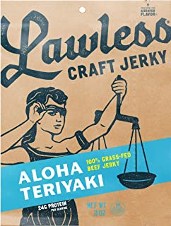 Lawless Jerky Aloha Teriyaki Grass Fed Beef Jerky, Aloha Teriyaki, 2.0 Ounce