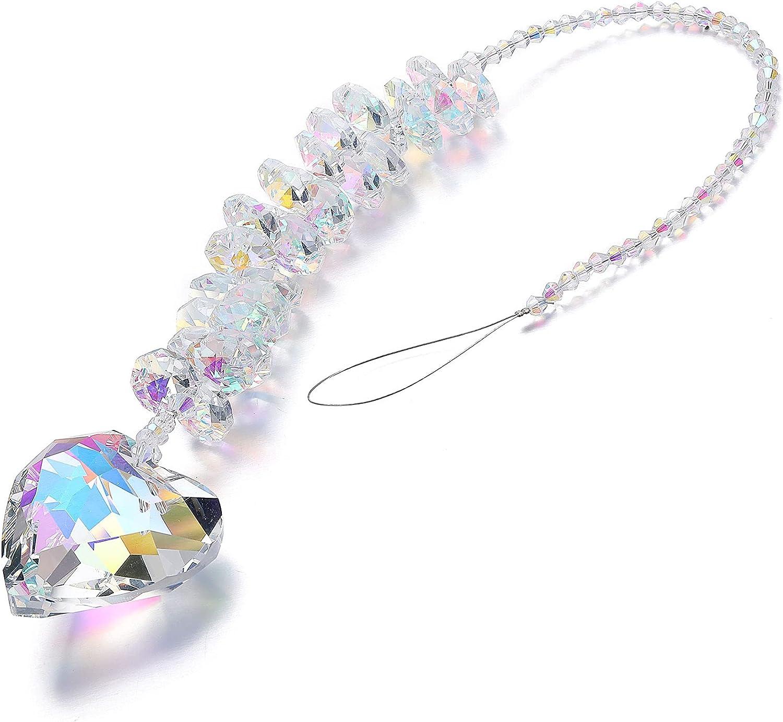 Jovivi Hanging Crystals Glass Crystal Heart Prism Suncatcher Rainbow Maker Chain Pendants Chandelier Suncatchers Hanging Ornament for Windows, Home Garden Décor