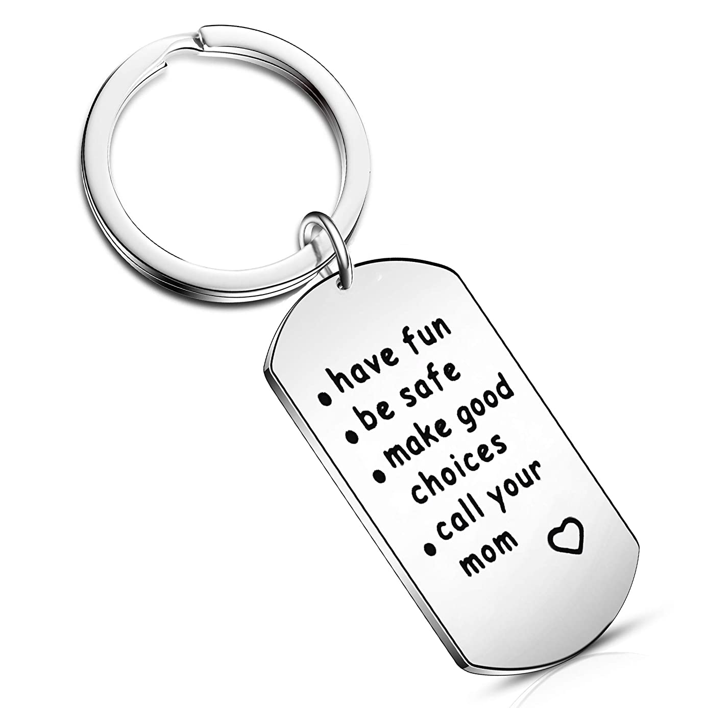 Have Fun, Be Safe, Make Good Choices and Call Your Mom New Driver Graduation Keychain Daughter Son Family Jewelry (Style-1)
