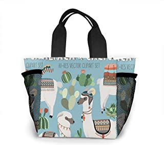 Cactus And Llama Clipart Lunch Bag Lunch Box Carry Case Handbags Tote For Kids Nurse Adults Teacher Mens Womens Work Outdoor Travel Picnic