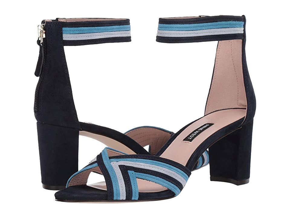 Nine West Pearl Heeled Sandal (French Navy/Sea Blue/Ice Blue) Women