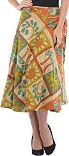 Exotic India Cotton wrap Skirt (SEK03-reed-yellow_Multicoloured_Length 33 Inch and Waist Upto 47 Inch)