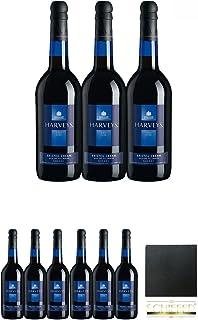 """Harvey""""s Bristol Cream blue Bottle 9 X 0,75 Liter  Schiefer Glasuntersetzer eckig ca. 9,5 cm Durchmesser"""
