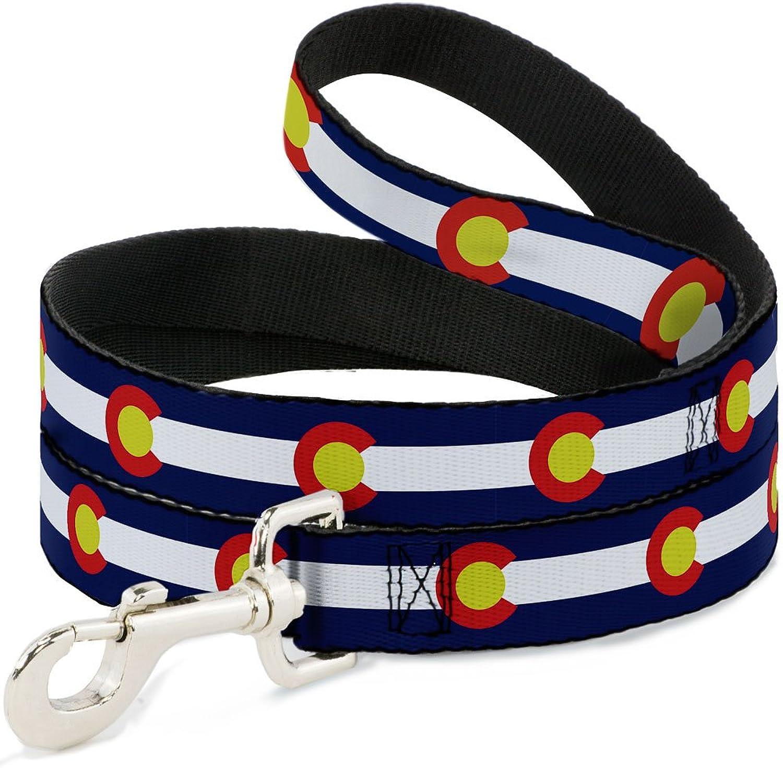 BuckleDown DL6FTW32965 Dog Leash, colorado Flags2 Repeat, 6'