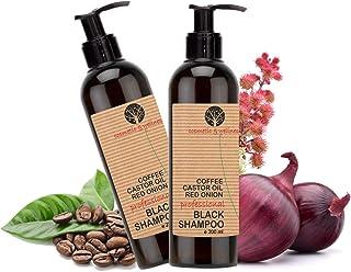 Black Shampoo Champú Anticaída Natural con Café Ricino Keratina y Extracto de Cebolla Detox Champu Acelerador Pack Ahorro...