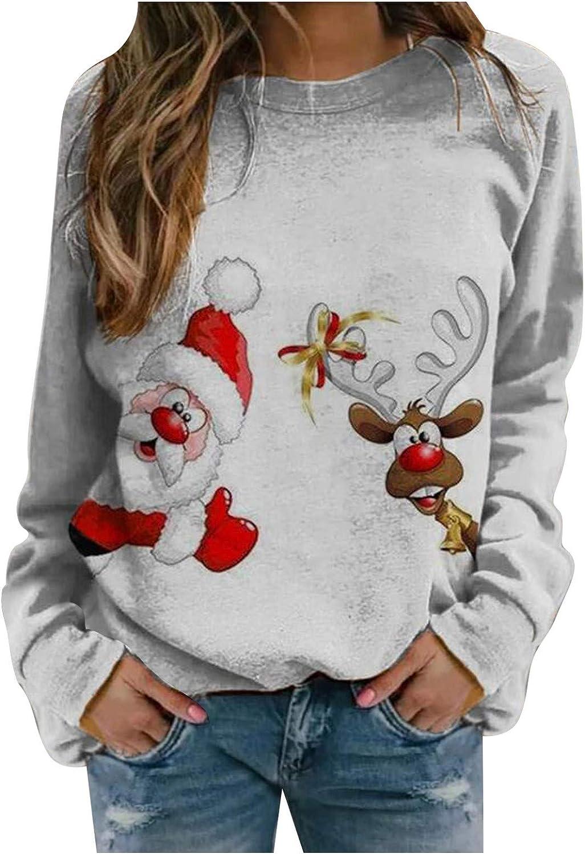 Christmas Sweatshirts for Women Christmas Sweatshirt Cute Santa Graphic Shirt Long Sleeve Holiday Pullover Top