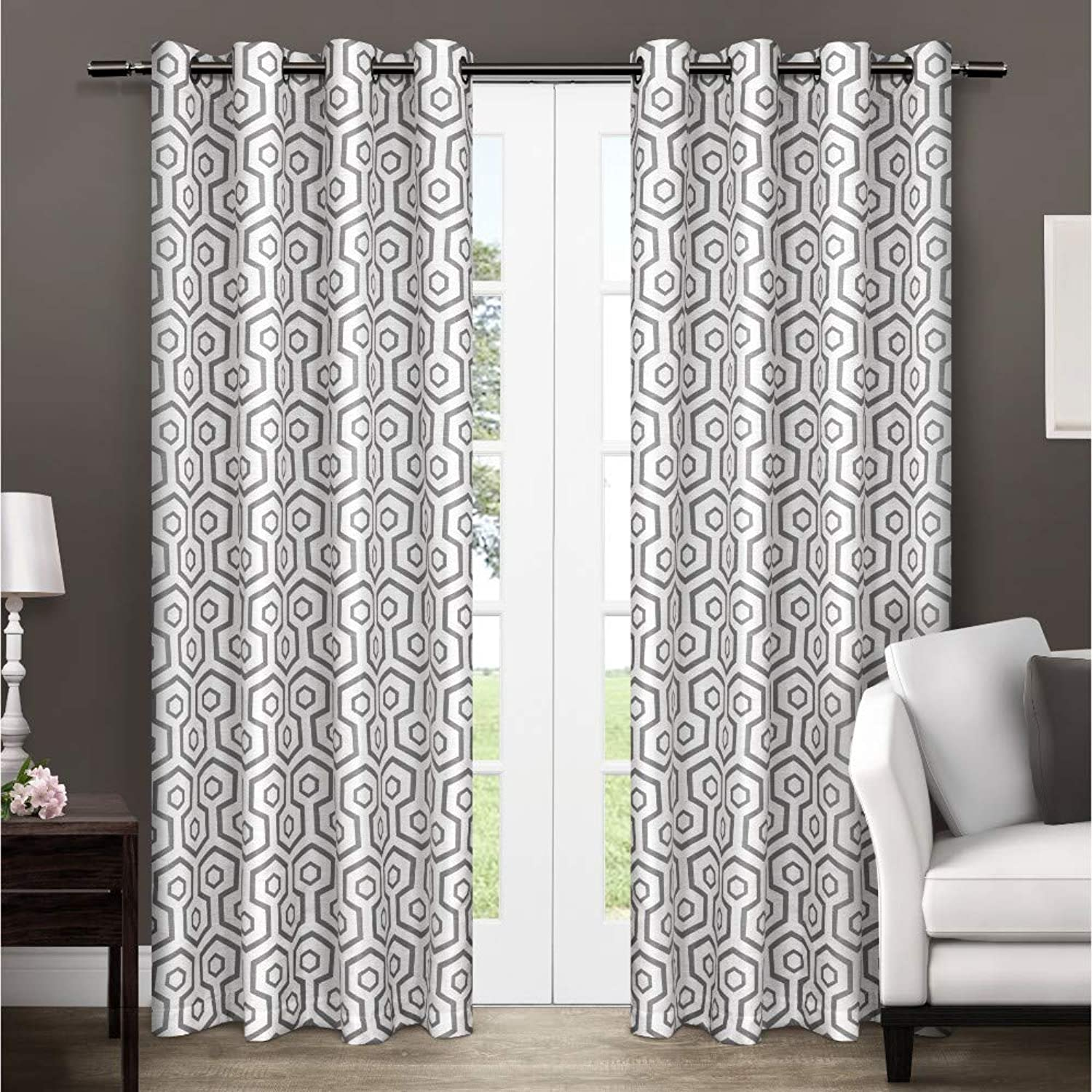 Exclusive Home Curtains Trike Geometric Thermal Window Curtain Panel Pair with Grommet Top, 54x84, Black Pearl, 2 Piece