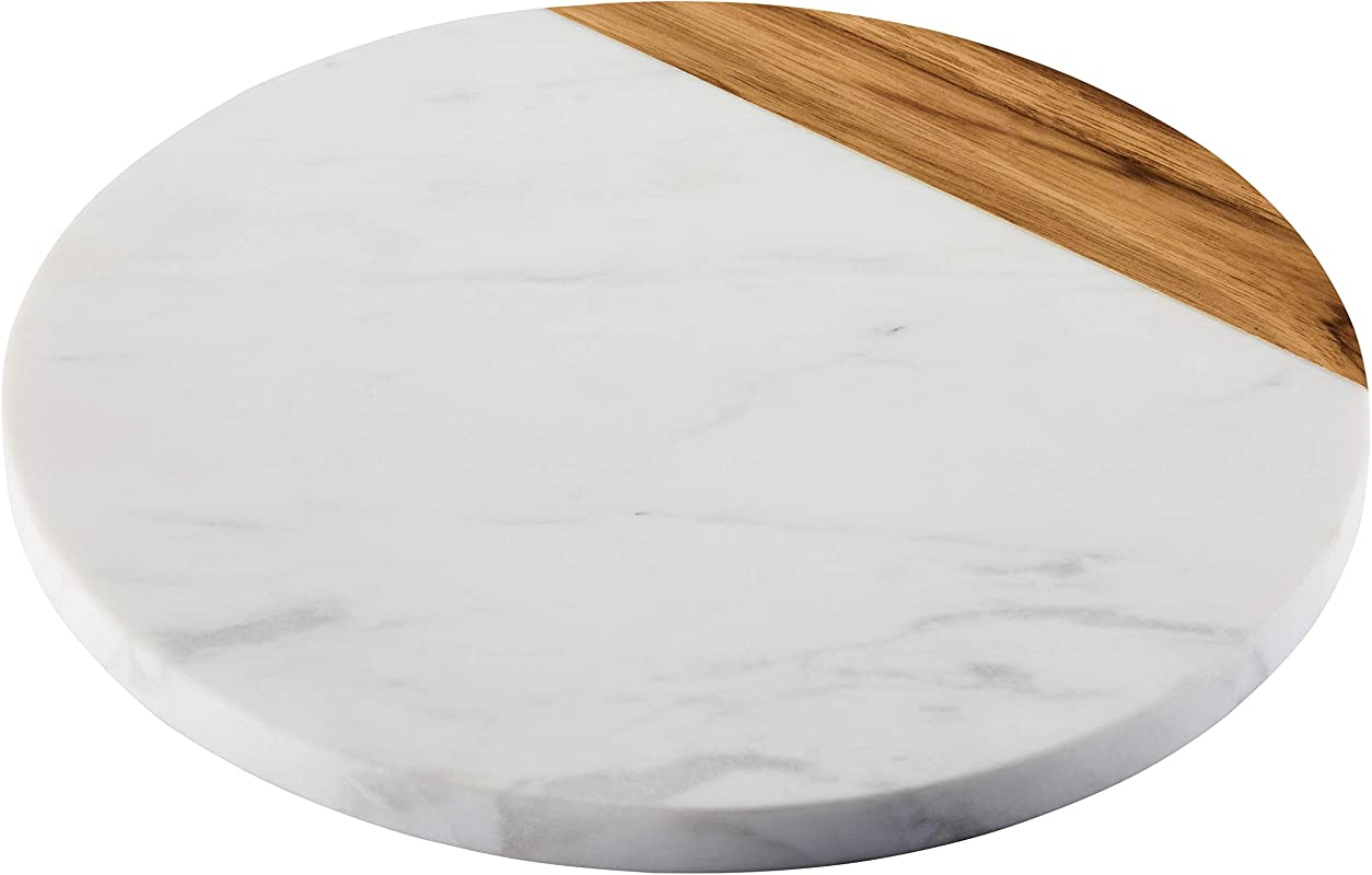 Anolon 46648 Pantryware White Marble Teak Wood Serving Board 10 Inch Round