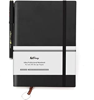 PU Leather Journal Notebook with Pen/Record Book/Lined Memo,Life&Success Planner,Classic Dark Coffee First Page,Pen Holder,Ribbon Bookmark,240 Lined Pages,6x8 Inches,0.5mm Gel Pen Included,Black
