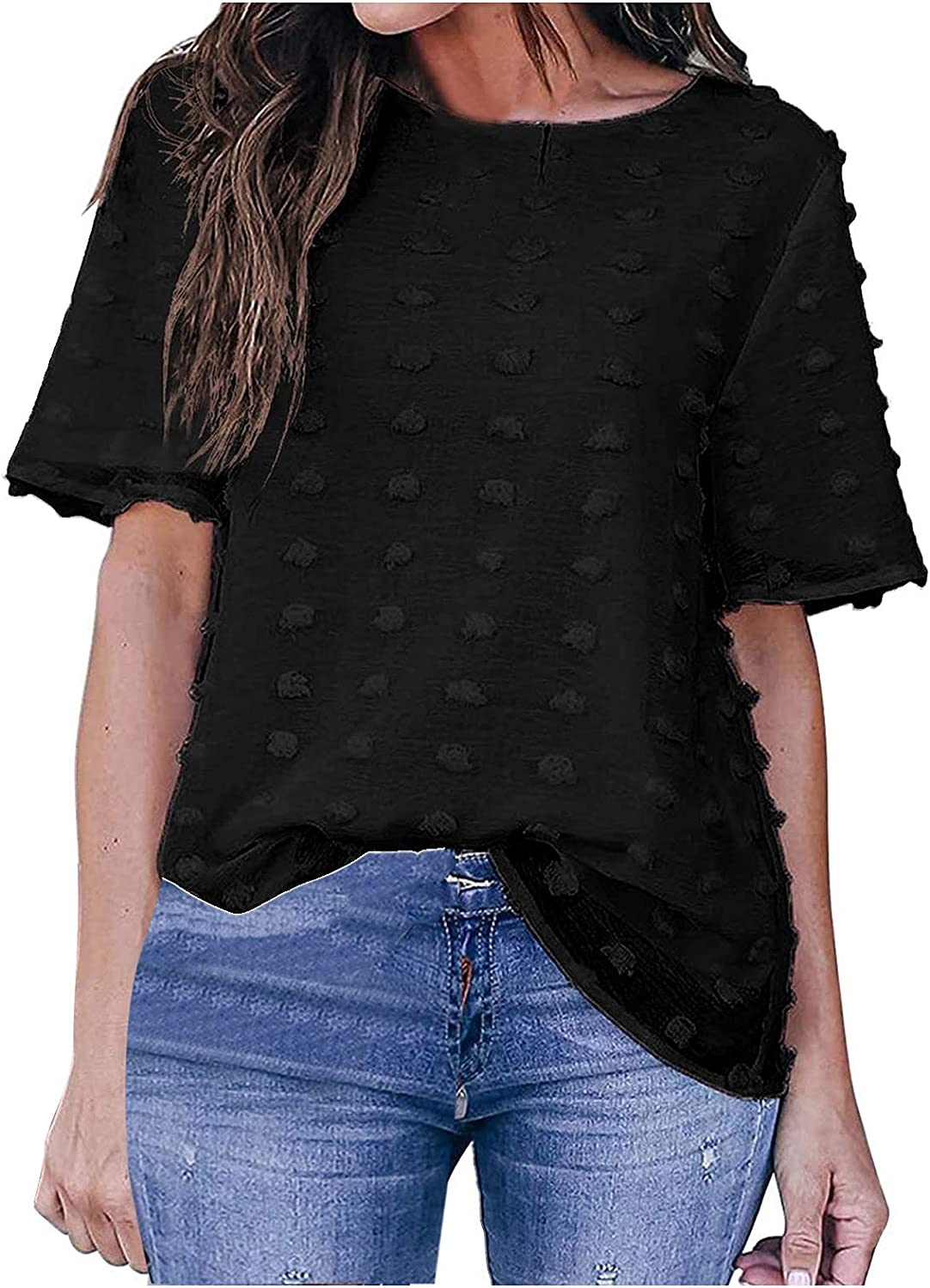 Women's Round O-Neck Short Sleeve Blouse Chiffon Dot Shirt Tops Loose Casual Pretty T-Shirt for Ladies
