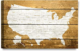 DECORARTS - Canvas Prints Wall Art -The map of USA on Vintage Wooden Background .Giclee Print on Canvas for Wall Decor. 30X20x1.5