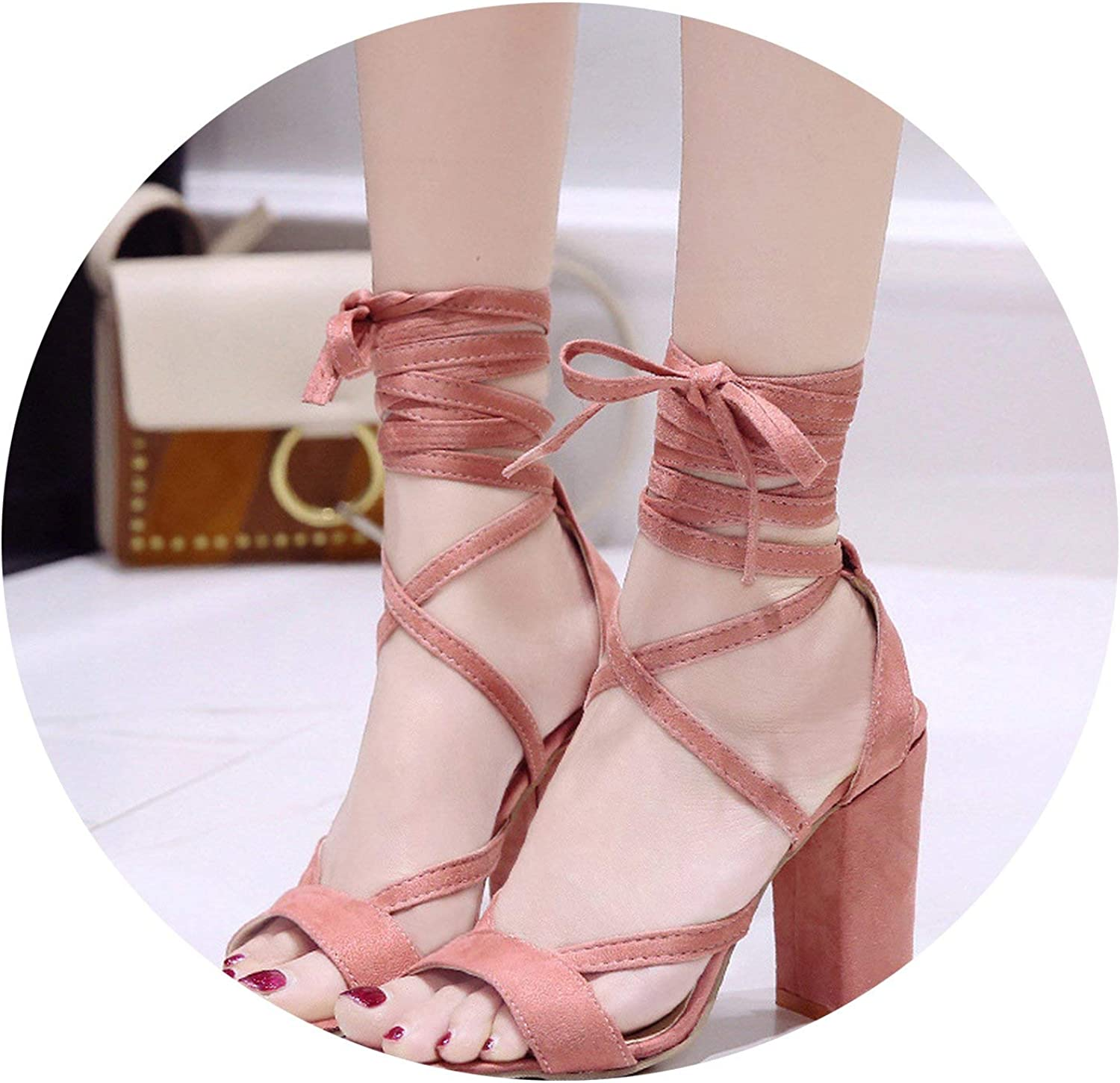 ALWAYS ME High-Heeled Large Size Women's shoes Hollow Round Head Thick with Sandals Perennial Sandals