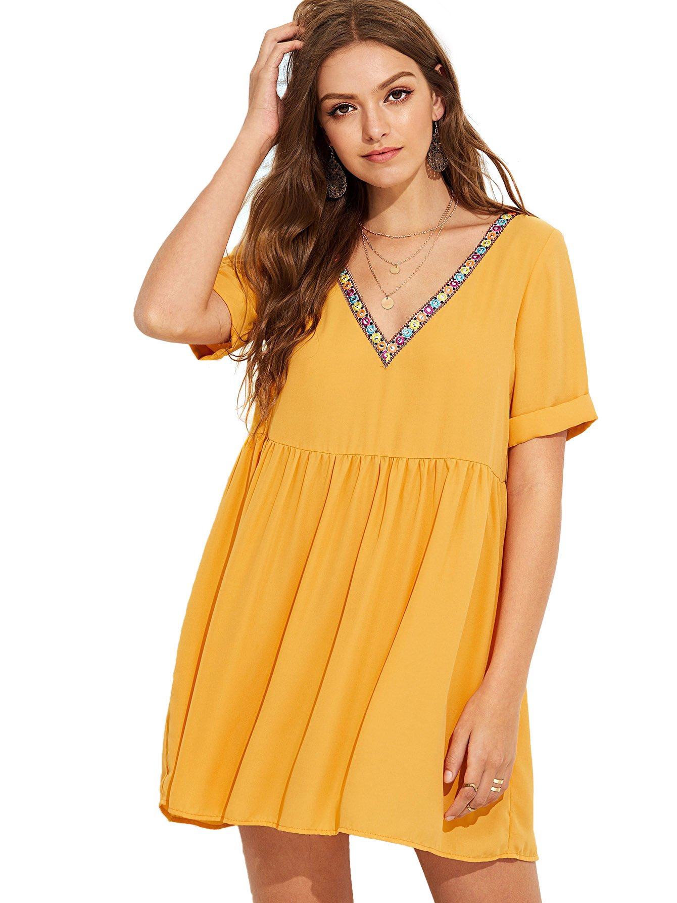 Available at Amazon: Floerns Women's Summer Tunic Dress V Neck Casual Loose Flowy Swing Shift Dress