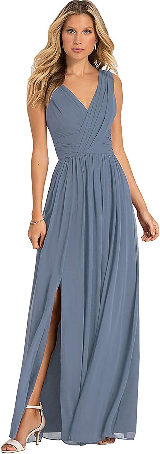 Women's V Neck Pleated Chiffon Long Bridesmaid Dresses A Line Formal Evening Prom Party Dress with Slit