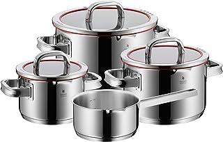 WMF Function 4 - Batería de Cocina, 4 Piezas, 3 ollas Altas Ø16cm (1,9 litros), Ø20cm (3,9 litros) y Ø24cm (5,7 litros) con Tapa y 1 cazo Ø16cm (1,4 litros)
