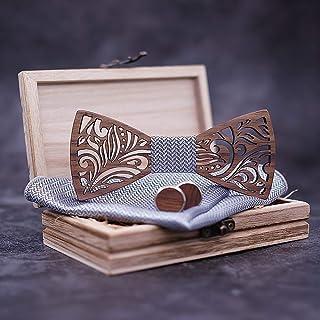 Set Papillon Farfallino Bow Tie, Gemelli in Legno wood e pochette in seta per Uomo Artigianale matrimonio regolabile handm...