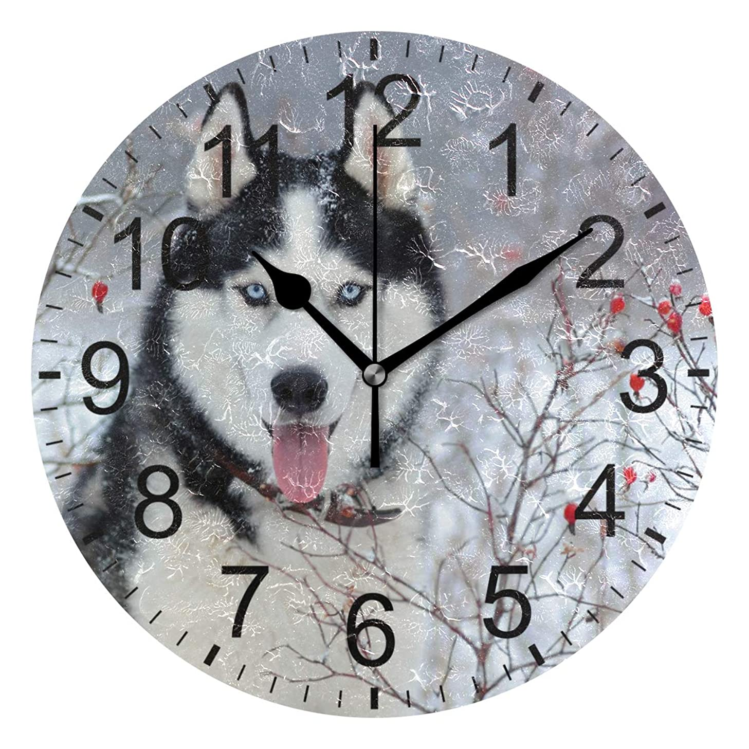 Senwei Animal Husky Dog Wall Clock Decorative Living Room Bedroom Kitchen Battery Operated Round Clock Art for Home Decor Unique