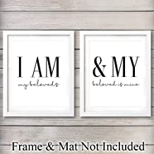 Unframed Wall Art Print Typography - Great Gift for Lovers, Weddings and Anniversaries - Modern Chic Home Decor - Ready to Frame (8x10) Photo - I Am My Beloved's & My beloved is Mine