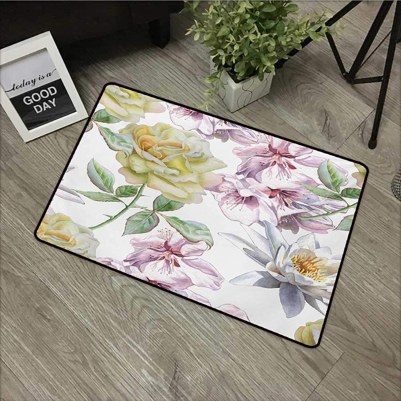 Door mat W35 x L59 INCH Floral,pink Petals Sakura Lily Flowers Blooms Romance Florets Design,Pale Pink Yellow Fern Green Easy to Clean, no Deformation, no Fading Non-Slip Door Mat Carpet