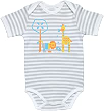 Under the Nile Baby Boy Lap Shoulder Bodysuit Size 6-9M Grey Stripe Organic Cotton with Bright Animals