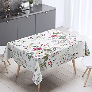 Wild Flower Tablecloths Watercolors Painting of Herbs Flowers Botanical Garden Table Cloth Kids Girls Boys Spring Tabletop for Dining Room Kitchen Decor,55x55 Inch