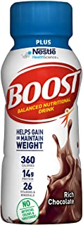 Boost Plus Complete Nutritional Drink, Rich Chocolate, 8 Ounce Bottle (Pack of 24)