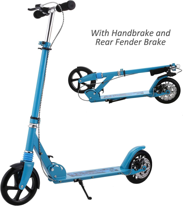 Hikole Adoult Scooter Upgrade   Adjustable Height, Foldable, Hand Disc Break + Rear Fender Brake, Lightweight Aluminium Alloy Commuter Big Wheels Scooter for Adoult Teens