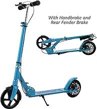 Hikole Adult Scooter Upgrade   Adjustable Height, Foldable, Hand Disc Break + Rear Fender Brake, Lightweight Aluminium Alloy Commuter Big Wheels Scooter for Adults Teens