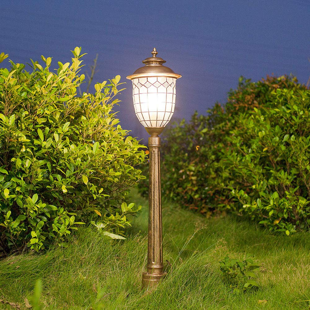 Retro lámpara al aire libre Vintage E27 pedestal luz de aluminio vidrio camino lámparas jardín césped patio iluminación piso luces exterior impermeable, bronce 23 * 25 * 145CM: Amazon.es: Iluminación